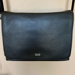 Hugo Boss leather messenger bag